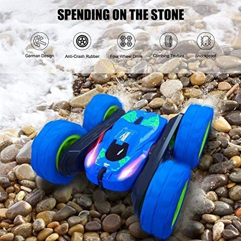 RC Stunt Car for Kids, SHARKOOL 360°Flips Double Sided Rotating 4WD 2.4Ghz Remote Control Car with Sharp Dual-Color Headlights -Best Gift for 2-12 Years Old Kids(All Batteries Included)