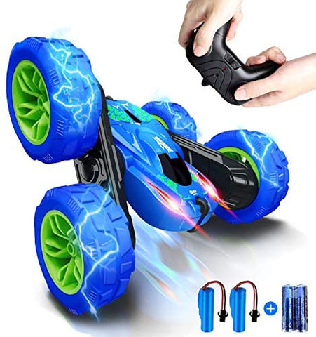 Image of RC Stunt Car for Kids, SHARKOOL 360°Flips Double Sided Rotating 4WD 2.4Ghz Remote Control Car with Sharp Dual-Color Headlights -Best Gift for 2-12 Years Old Kids(All Batteries Included)
