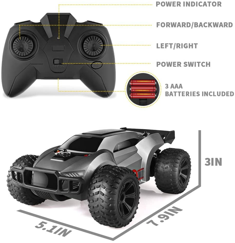 EpochAir Remote Control Car - 2.4GHz High Speed RC Cars ,Offroad Hobby RC Racing Car with 2 Rechargeable Batteries and LED Lights,Electric Toy Car Gift for 3 4 5 6 7 8 Year Old Boys Girls Kids