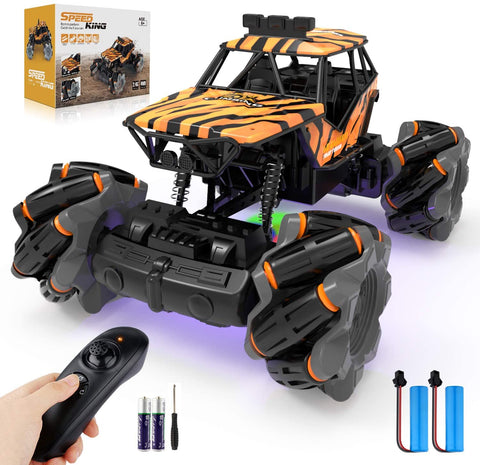 Image of Growsly Remote Control Car, High Speed RC Car for Kids Adults 1:18 Scale 2.4 GHz 360° Spins Off Road Hobby RC Truck Racing Monster Vehicle with 4 Batteries , Drift Toy Car for Boys & Girls Gifts