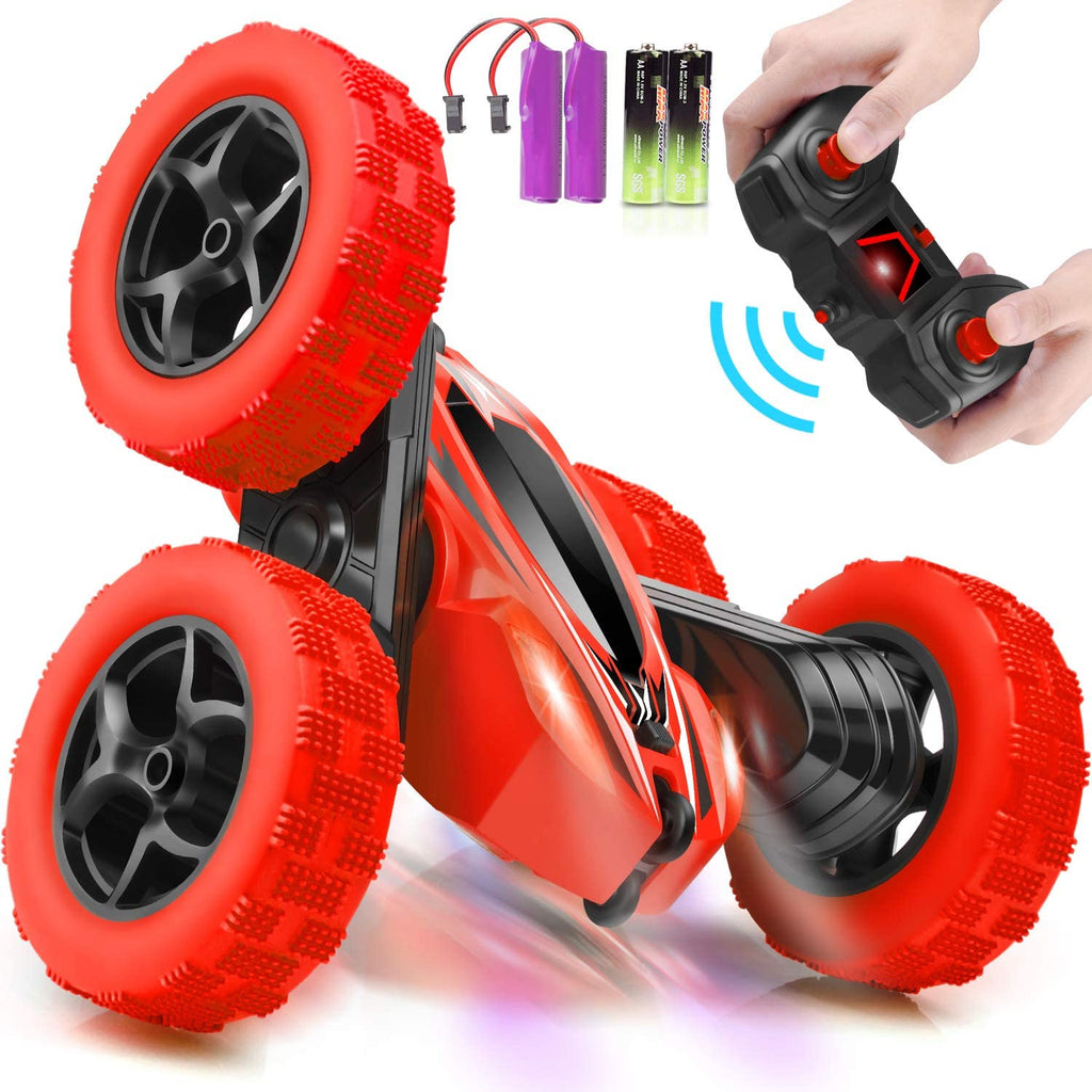 ORRENTE RC Cars Stunt Car Toy Remote Control Car, Offroad Remote Control Monster Trucks 4WD 2.4Ghz RC Rock Crawler with Headlights, Double Sided 360° Flips RC Car Toys Gift for Kids Boys Girls