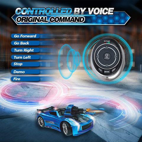 Seckton Smart Voice Remote Control Cars, Best Birthday Gifts for Boys Age 6 Up, 2.4GHz Fast Race Stunt RC Car for Kids, Model Vehicle with Cool Sound & Light, Toys for 8-12 Year Old Girls-Blue