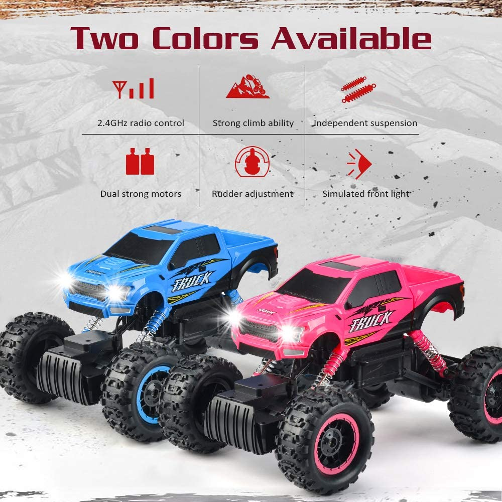 DOUBLE E RC Cars Newest 1:12 Scale Remote Control Car with Two Rechargeable Batteries and Dual Motors Off Road RC Trucks,High Speed Racing Car for Kids
