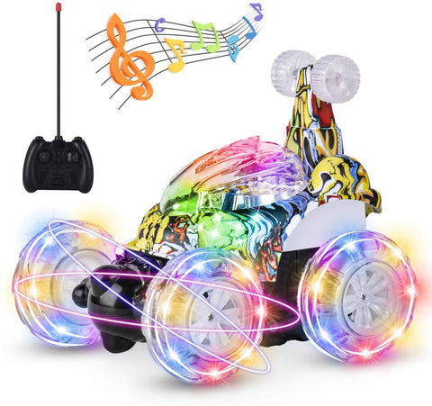 Image of UTTORA Remote Control Car, RC Stunt Car Invincible Tornado Twister Remote Control Rechargeable Vehicle with Colorful Lights & Music Switch for Kids (Camouflage)