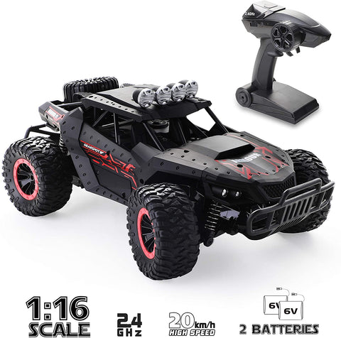Image of RC Car 1:16 Scale Remote Control Car Off-Road RC Trucks 2.4 GHz with 2 Rechargeable Batteries,Electric Toy Car for All Adults & Kids