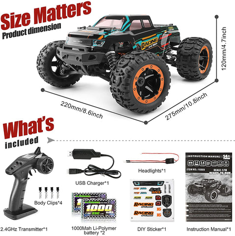HAIBOXING RC Cars 1:16 Scale 4WD Race Truck 36+KM/H High Speed 16889, 2.4 GHz All-Terrain Waterproof Remote Controlled Car, Hobby Grade RTR Electric Radio Controlled Trucks for Kids and Adults