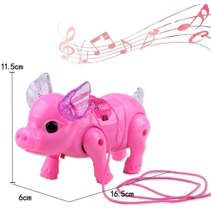 Electric Walking Singing Musical Light Pig Toy with Leash Interactive Kids Toy