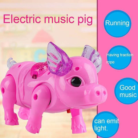 Image of Electric Walking Singing Musical Light Pig Toy with Leash Interactive Kids Toy