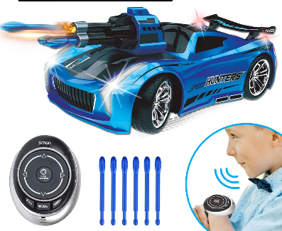 Image of Seckton Smart Voice Remote Control Cars, Best Birthday Gifts for Boys Age 6 Up, 2.4GHz Fast Race Stunt RC Car for Kids, Model Vehicle with Cool Sound & Light, Toys for 8-12 Year Old Girls-Blue
