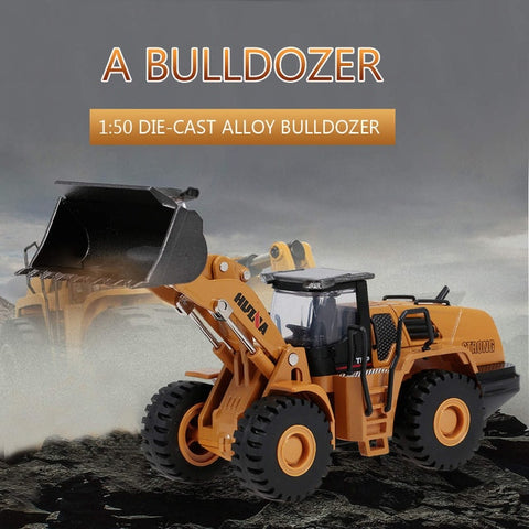 Image of HUINA 1700 1:50 Die-Cast Alloy Heavy Bulldozer Engineering Truck Static Model Caterpillar Wheel Bulldozer Kids Educational Toy