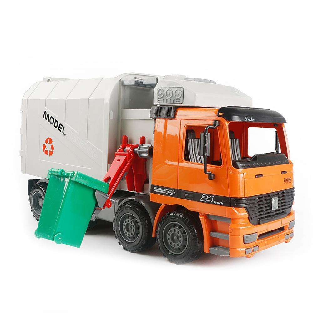 Powered Recycling Garbage Truck Kids Toy with Side Loading Back Dump Write