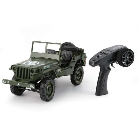 Image of C606 1:10 RC Car 2.4G 4WD Convertible Remote Control Light Jeep Military RC Military Truck