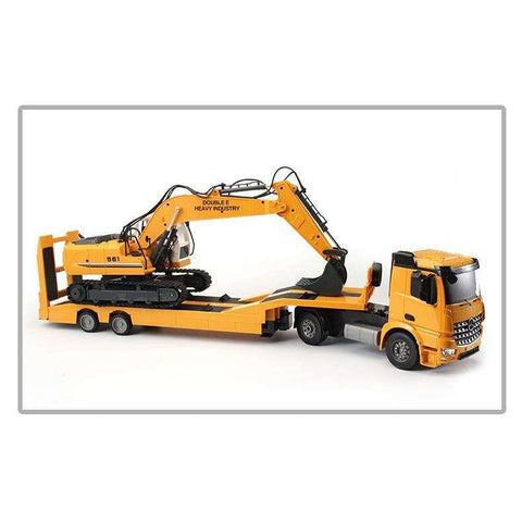 Image of Big RC Truck Flatbed Semi-Trailer 1:20 2.4G Engineering Tractor
