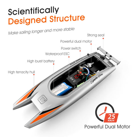 Image of 25KM/H Silver Black Speed Racing RC Boat