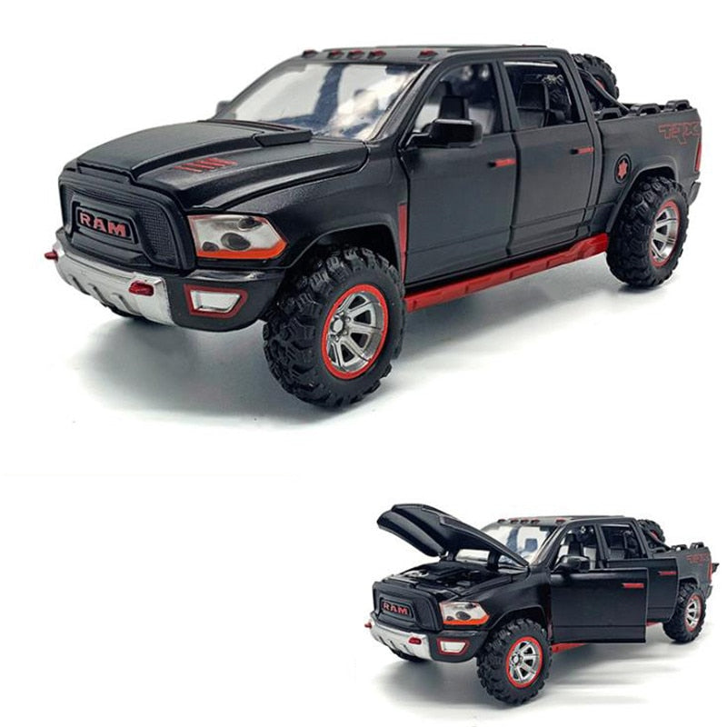 1:32 Simulation Alloy Car Model New Dodge-Ram TRX-Pickup Metal Car Model Sound And Light Pull Back Childs Boy Toy Car Gifts
