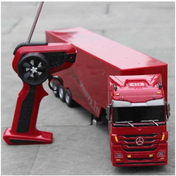 Remote Control Car Detachable Kids Electric Big Rc Container Truck Trailer Radio Wireless Truck Model Toy With Sound & Music