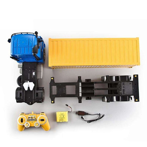 Image of Blue Benz RC High Speed Shipping Container Truck Toy