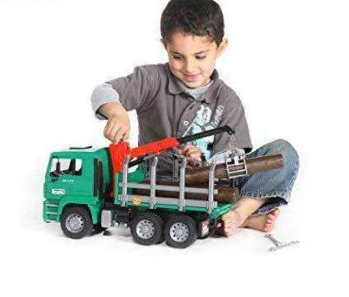 Image of Bruder Toys Timber Truck with Loading Crane