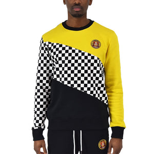 Checkered color block sweatshirt with yellow and checkered sleeves