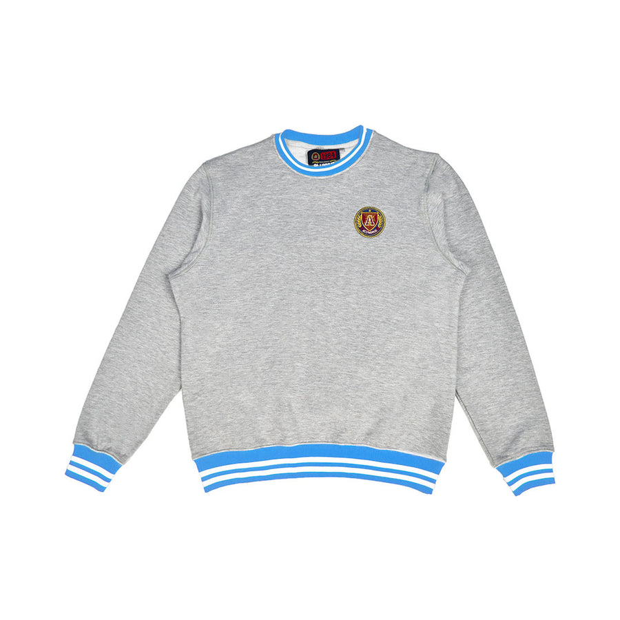 Sky Blue & White Striped Rib Crewneck