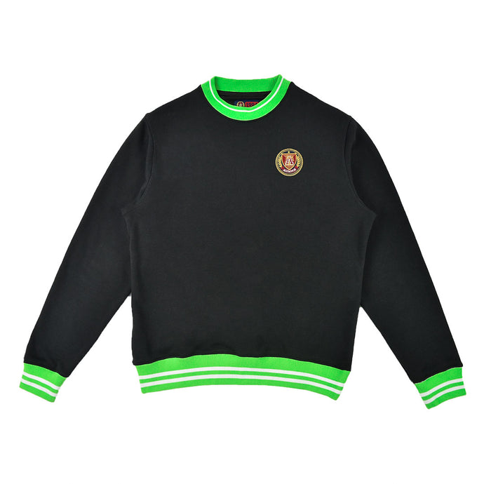 Black/Slime Striped Rib Sweatshirt