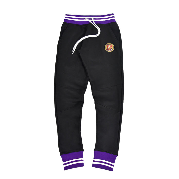 """TCU"" Black and purple striped rib joggers"