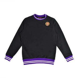 """TCU"" Black and purple striped rib sweatshirt"