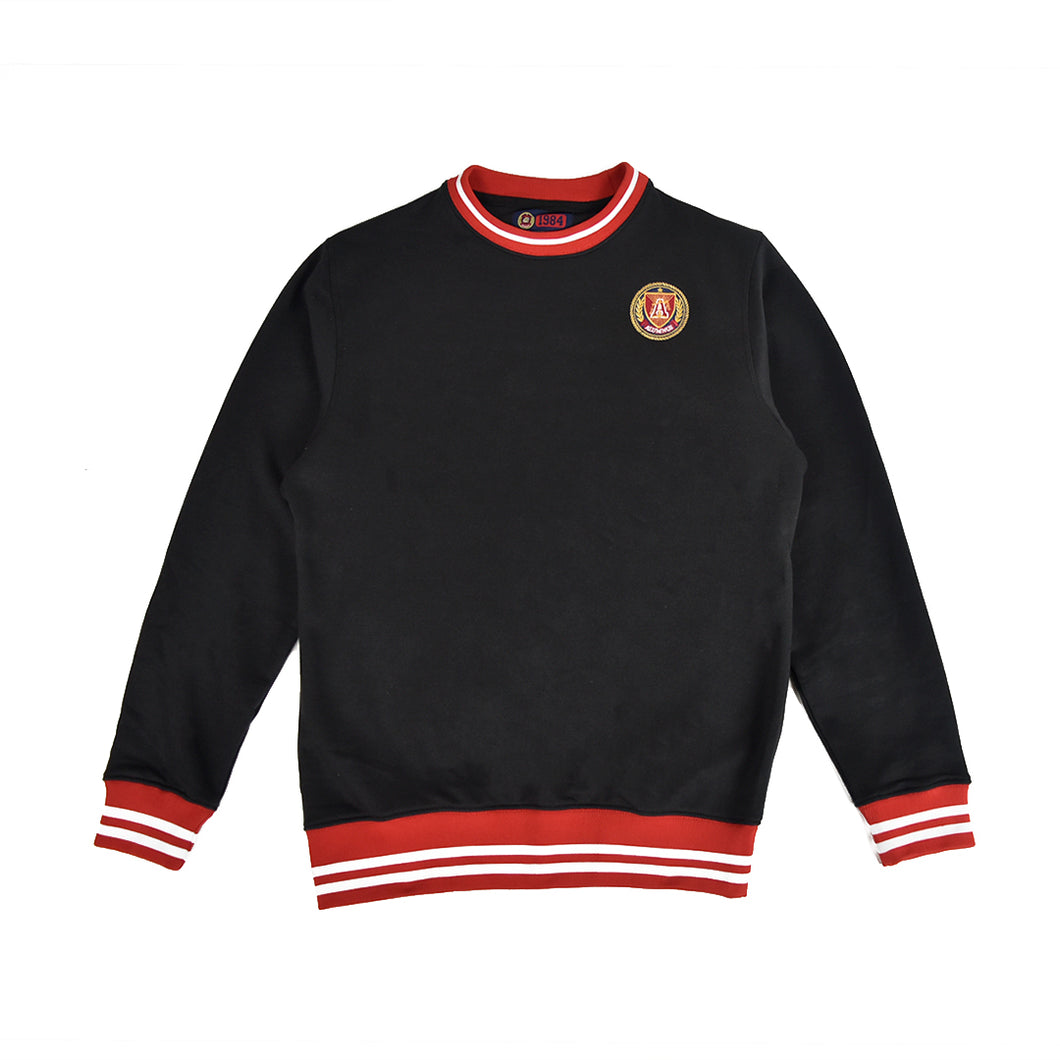 Black Striped Rib Sweatshirt - Red