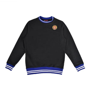 Black/Royal Striped Rib Sweatshirt