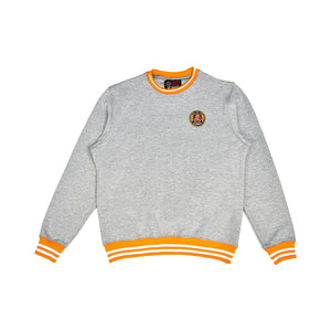 Grey and orange striped sweatshirt