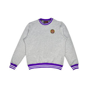 Grey and purple striped rib crewneck sweatshirt . Ultra soft cotton and matching joggers.
