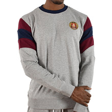 Men's Striped Sleeve Crewneck - Grey/Burgundy