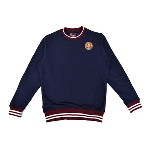 Navy Striped Rib Sweatshirt - Burgundy