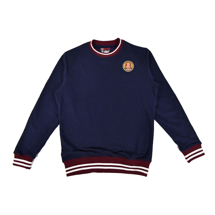 Burgundy & White Striped Rib Sweatshirt Navy