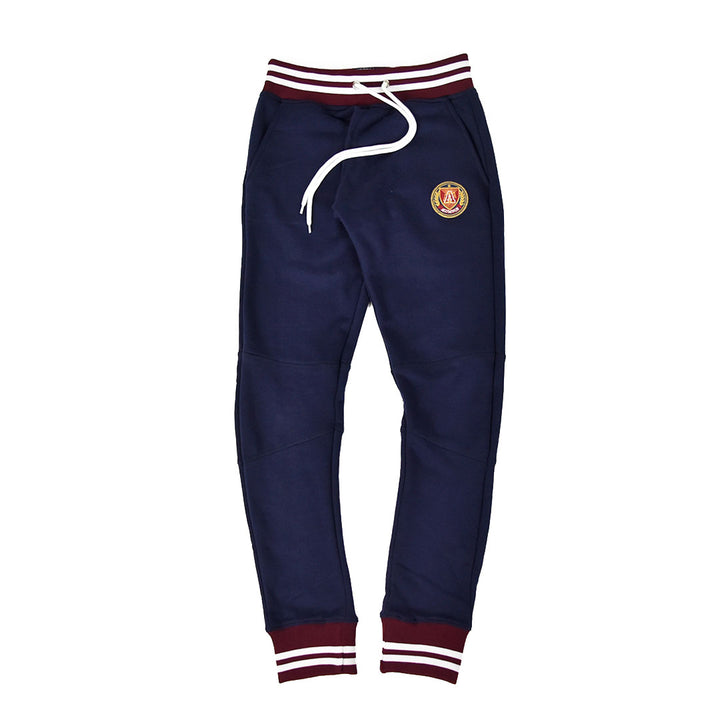Burgundy & White Striped Rib Joggers Navy
