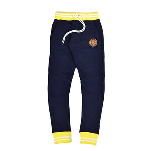 Yellow & White Striped Rib Joggers Navy