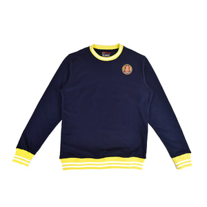 Yellow & White Striped Rib Sweatshirt Navy