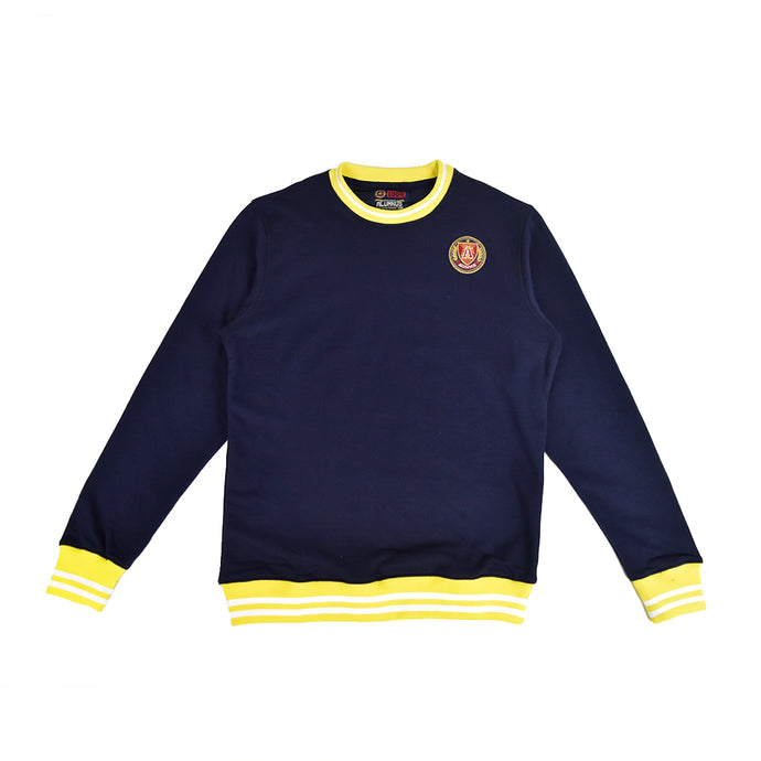 Navy Striped Rib Sweatshirt - Yellow