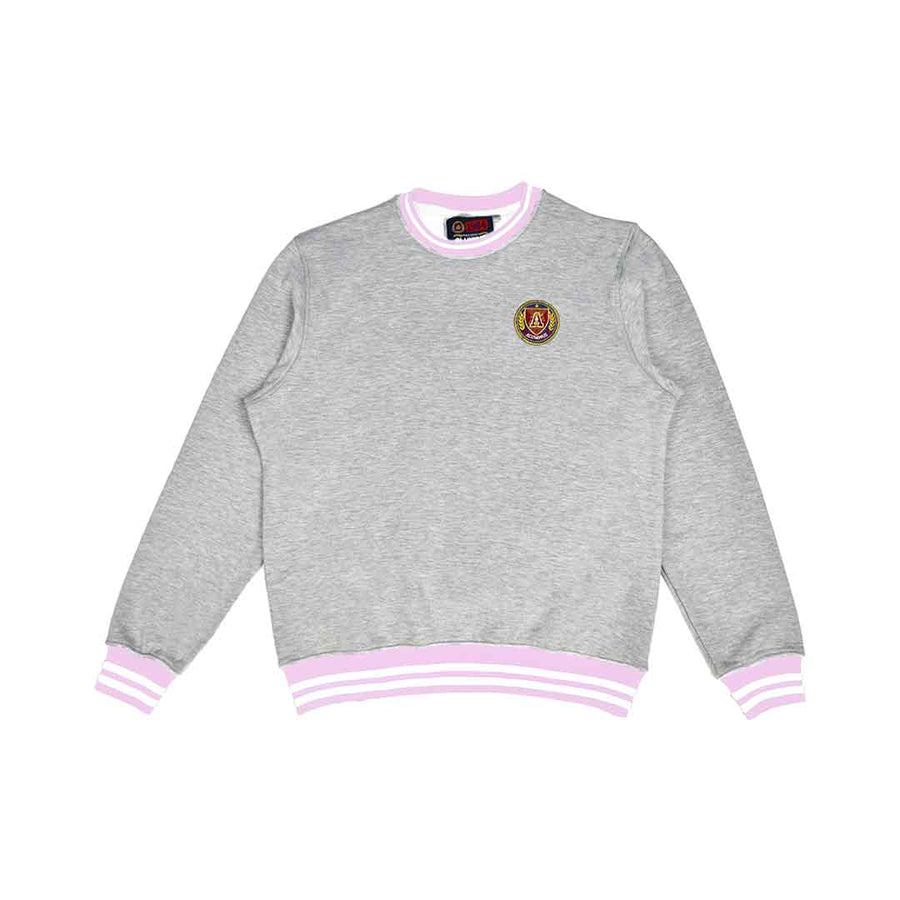 Powder Pink & White Striped Rib Sweatshirt Grey