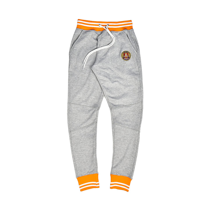 Orange & White Striped Rib Joggers Grey
