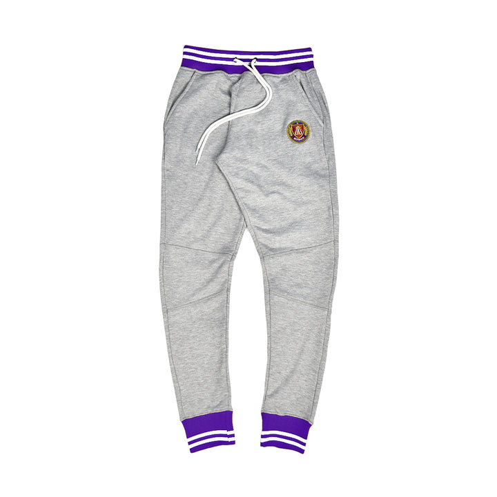 Grey and purple striped rib joggers
