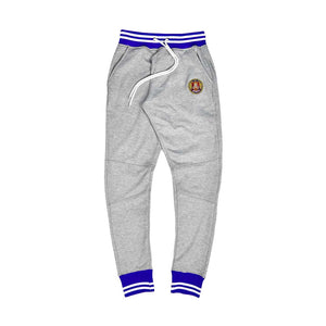 Royal & White Striped Rib Joggers Grey