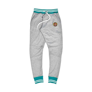 Teal & White Striped Rib Joggers Grey