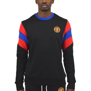 Men's Striped Sleeve Crewneck Black