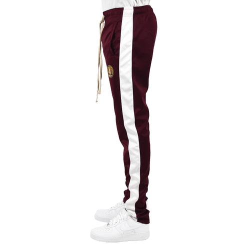Men's Track Pants - Burgundy/White