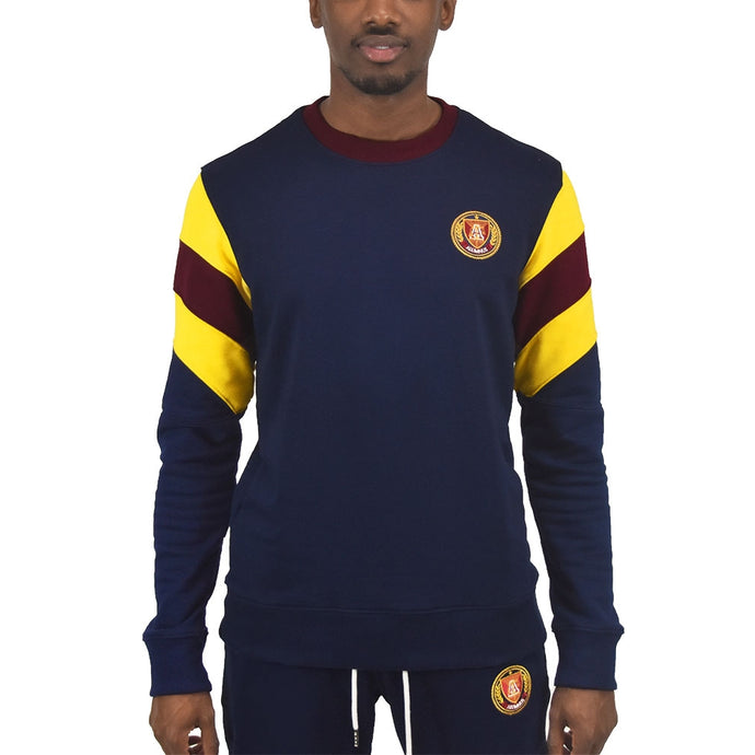 Men's Striped Sleeve Crewneck Navy
