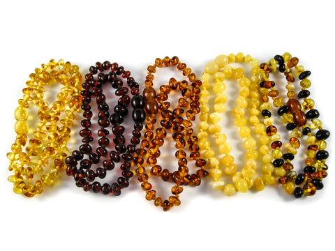 amber teething necklaces five types, cognac, lemon, cherry, multicolor, milky, screw clasp, polished beads, healing for babies