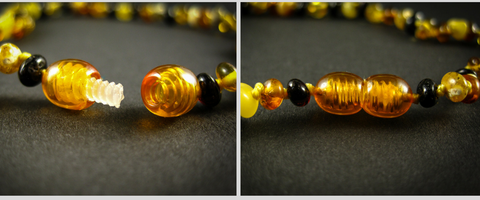 amber teething necklace plastic screw clasp view, safe, multicolor beads