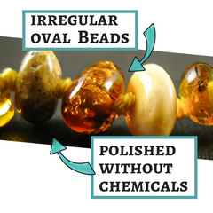 amber teething necklace, irregular oval polished beads, without chemicals, safe and comfortable