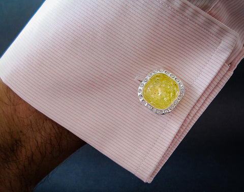 silver cufflinks with lemon baltic amber and zircons perfectly match with pink shirt, it is awesome gift for a man